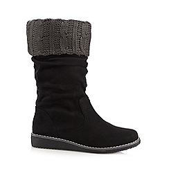 Mantaray - Black suedette cable knit trim calf boots