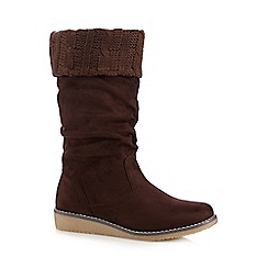Mantaray - Dark brown suedette cable knit trim calf boots