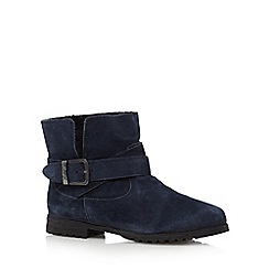 Mantaray - Navy suede ruched cuff ankle boots
