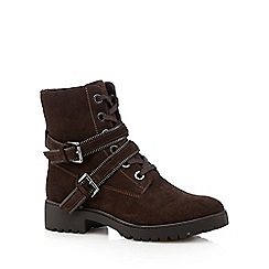 Mantaray - Brown suede zip detail buckle ankle boots