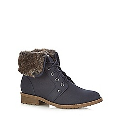 Mantaray - Navy faux fur cuff mid heeled boots