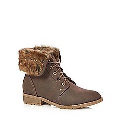 Mantaray - Brown faux fur cuff mid heeled boots