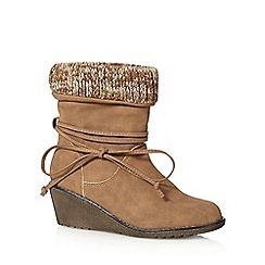 Mantaray - Tan knitted cuff mid wedged ankle boots