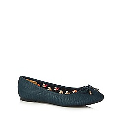 Mantaray - Turquoise bow slip on shoes