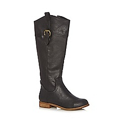 Mantaray - Black buckle knee high small heeled boots