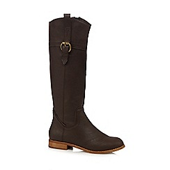 Mantaray - Brown buckle knee high small heeled boots