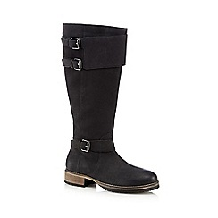 Mantaray - Black suede buckle knee high boots