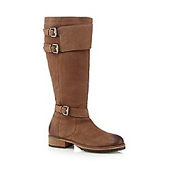 Mantaray - Tan suede buckle knee high boots