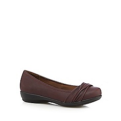 Good for the Sole - Dark red ruched wide fit slip-on shoes