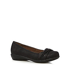 Good for the Sole - Black ruched wide fit slip on shoes