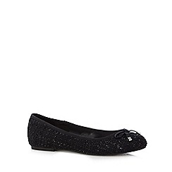 Good for the Sole - Black embellished textured wide fit slip on shoes