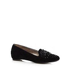 Good for the Sole - Black beaded velvet wide fit slip on shoes