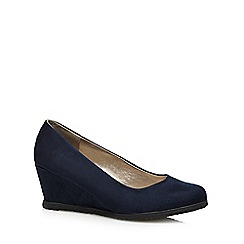 Good for the Sole - Navy suedette wider fit mid wedges