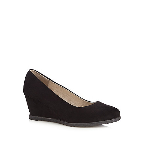 Good for the Sole - Black suedette wide fit mid wedges
