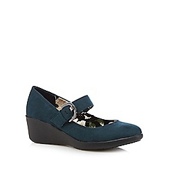 Good for the Sole - Dark green floral wide fit buckle court shoes