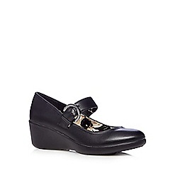 Good for the Sole - Black Mary Jane wide fit mid wedge court shoes