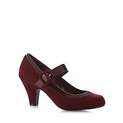 Good for the Sole - Dark red suedette Mary Jane wide fit mid court shoes