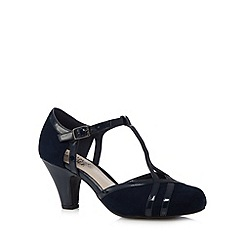 Good for the Sole - Navy buckle wide fit heeled shoes
