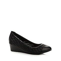Good for the Sole - Black quilted low wedge wide fit court shoes