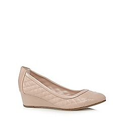 Good for the Sole - Pale pink quilted low wedge wide fit court shoes