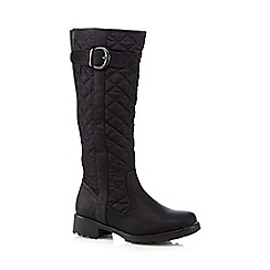 Good for the Sole - Black quilted wide fit high leg boots