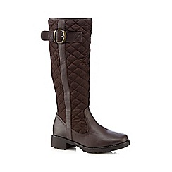 Good for the Sole - Dark brown quilted wide fit high leg boots