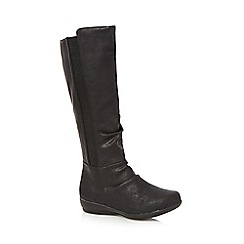 Good for the Sole - Black ruched high leg wide fit boots
