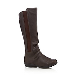 Good for the Sole - Dark brown ruched high leg wide fit boots