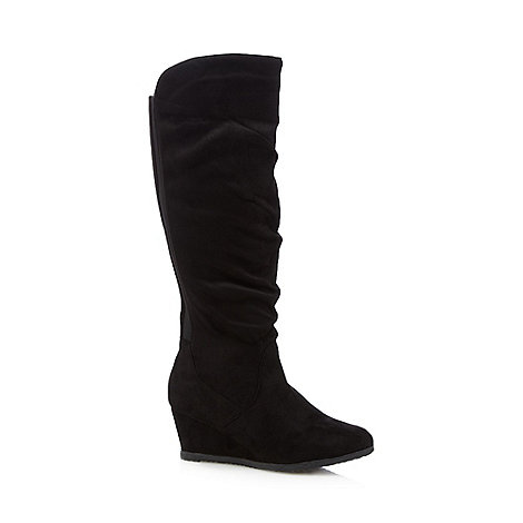 Good for the Sole - Black suedette knee high wide fit wedge boots