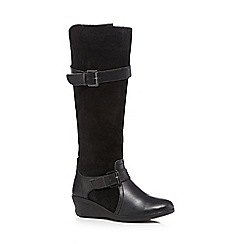 Good for the Sole - Black suede wide fit knee high wedge boots