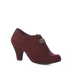 Good for the Sole - Dark red suedette elasticated wide fit mid shoe boots
