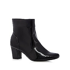 Good for the Sole - Black reptile patent wide fit mid ankle boots