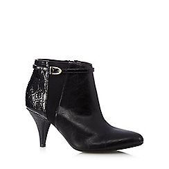 Good for the Sole - Black mock croc wide fit mid ankle boots
