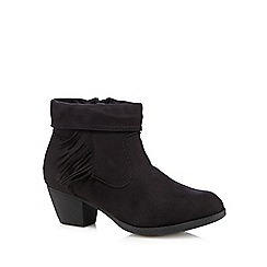 Good for the Sole - Black suedette fringed wide fit ankle boots