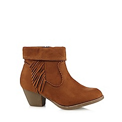 Good for the Sole - Tan suedette fringed wide fit ankle boots