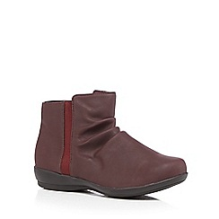 Good for the Sole - Dark red ruched leather wide fit ankle boots