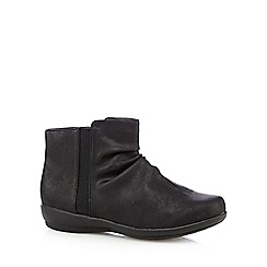 Good for the Sole - Black ruched wide fit ankle boots