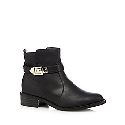Good for the Sole - Black buckle high chelsea wide fit ankle boots