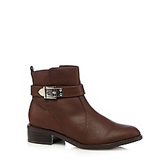 Good for the Sole - Tan buckle wide fit low ankle boots