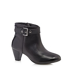 Good for the Sole - Black leather buckled wide fit mid ankle boots