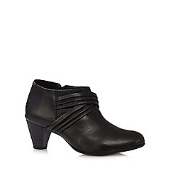 Good for the Sole - Black leather pleated cross over wide fit mid ankle boots