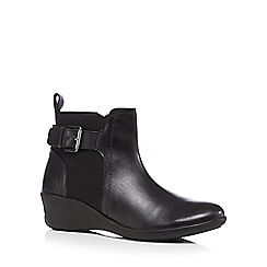 Good for the Sole - Black leather mid wedged wide fit Chelsea boots