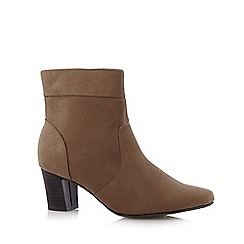 Good for the Sole - Taupe wide fit mid block heel ankle boots