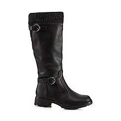 Good for the Sole - Black woven trim wide fit knee high boots