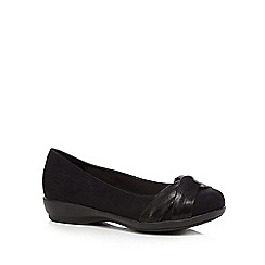 Good for the Sole - Black croc bow wide fit flat shoes