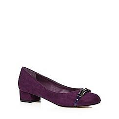 The Collection - Black suedette chain detail court shoes