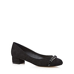 The Collection - Black suedette chain detail court shoes
