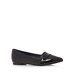 The Collection - Black textured pointed pumps