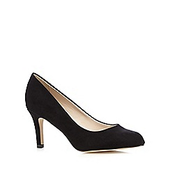 The Collection - Black suedette round toe mid court shoes