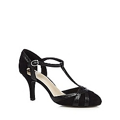 The Collection - Black snake t-bar high court shoes